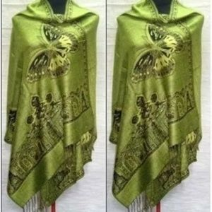 New green butterfly cashmere wrap